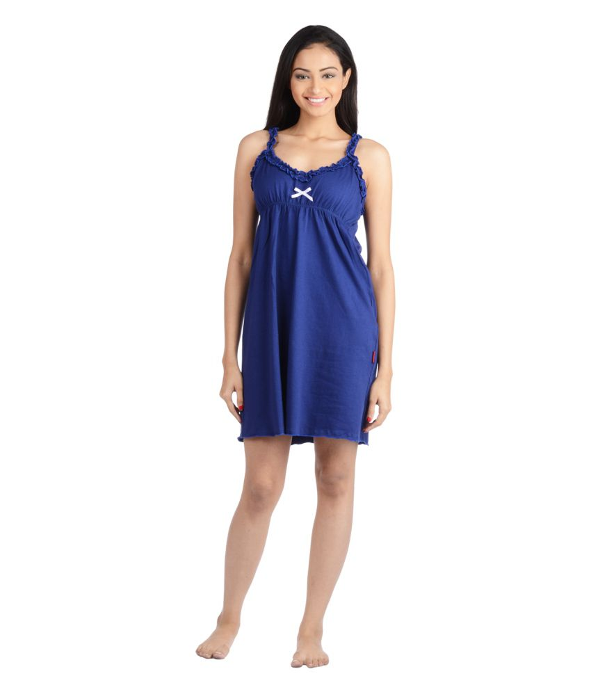 0eb7b9b32d Buy Nite Flite Blue Cotton Nighty Online at Best Prices in India - Snapdeal