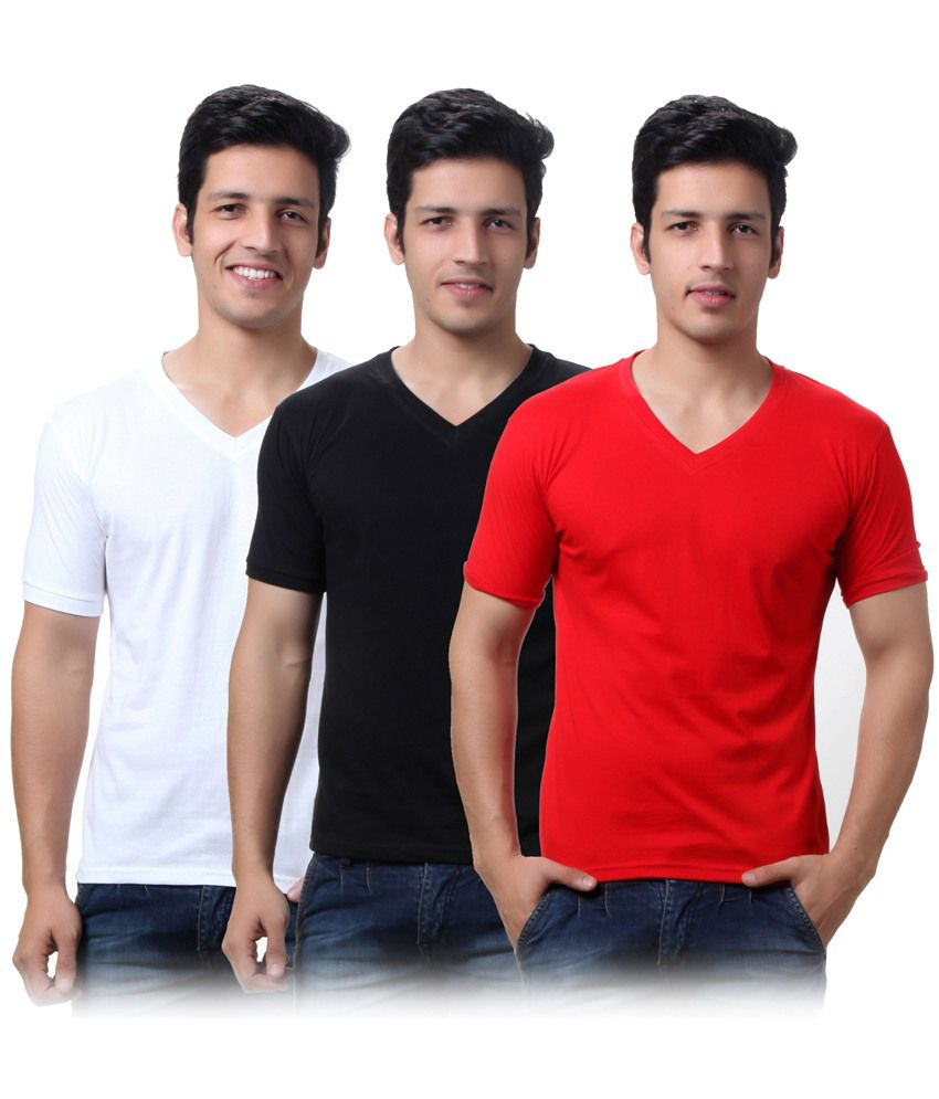 TeeMoods Pack of Three Men's V Neck Cotton Tshirts