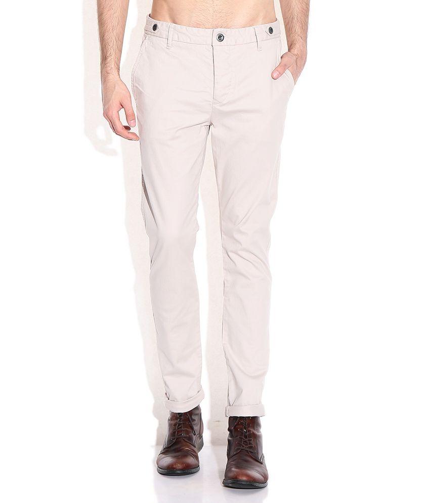 Breakbounce Beige Skinny Fit Chino Trousers