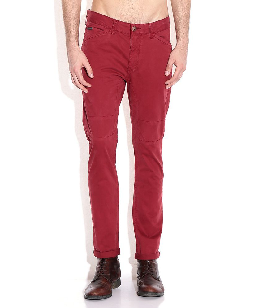 Breakbounce Red Slim Fit Chino Trousers