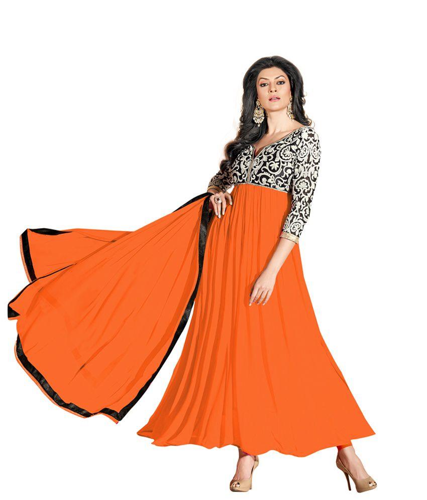 Style Mania Orange Embroidered Chiffon Anarkali Semi Stitched Suit Semi Stitched Suit