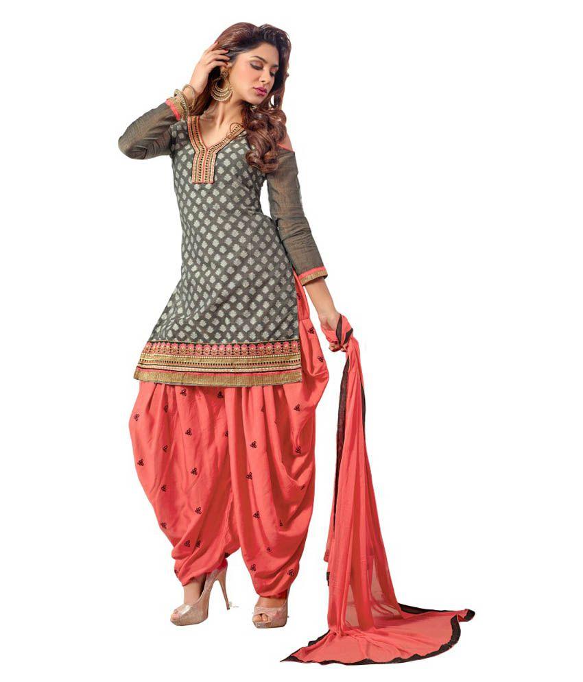 478b867274 Trendz Apparels Gray Chanderi Cotton Silk Patiala Salwar Suit - Buy Trendz  Apparels Gray Chanderi Cotton Silk Patiala Salwar Suit Online at Best  Prices in ...