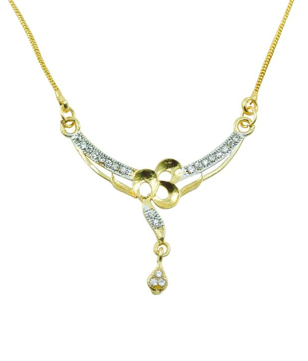 AAKSHI CZ Diamond Studded Plated Gold Necklace