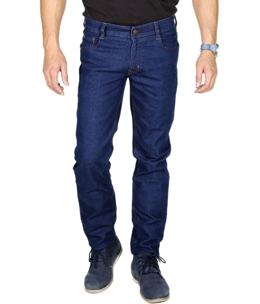 ChileeLife Blue Cotton Basic Slim Fit Jeans