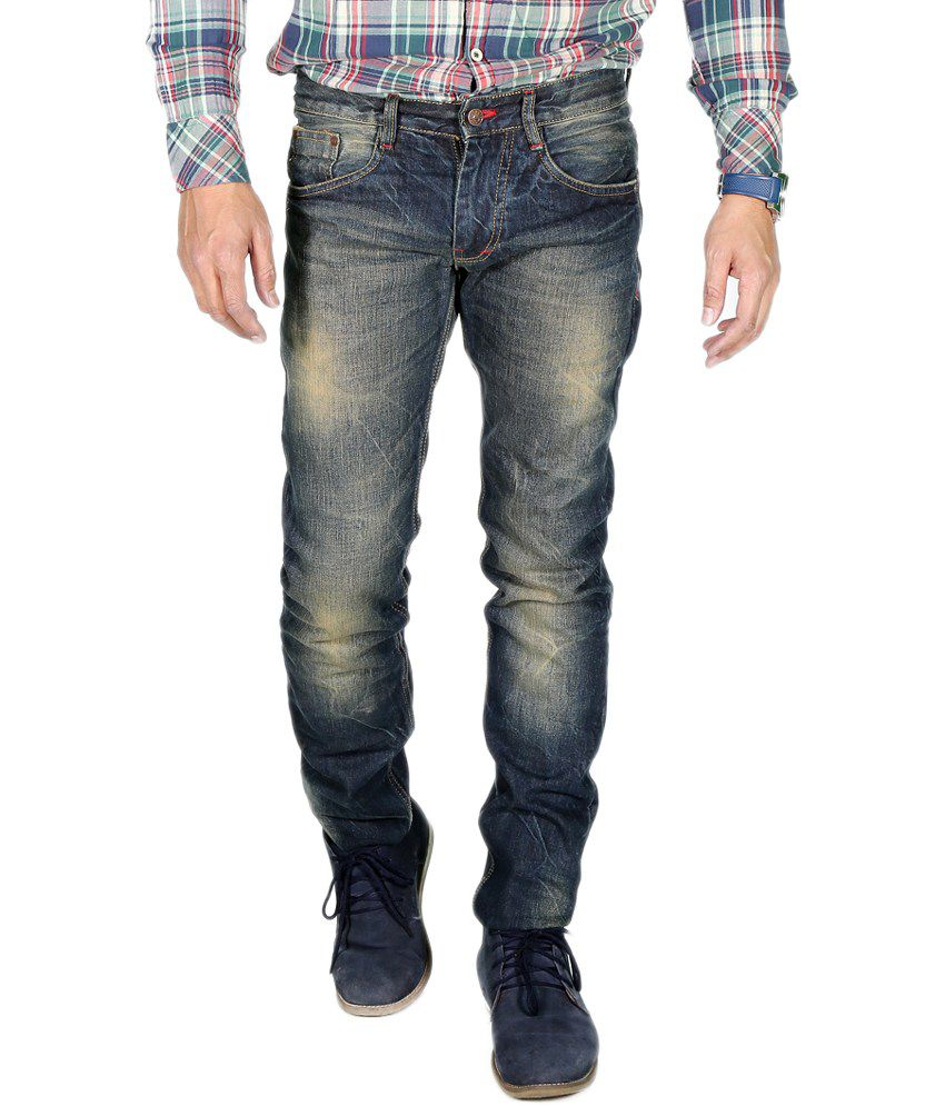 ChileeLife Blue Cotton Faded Regular Fit Jeans