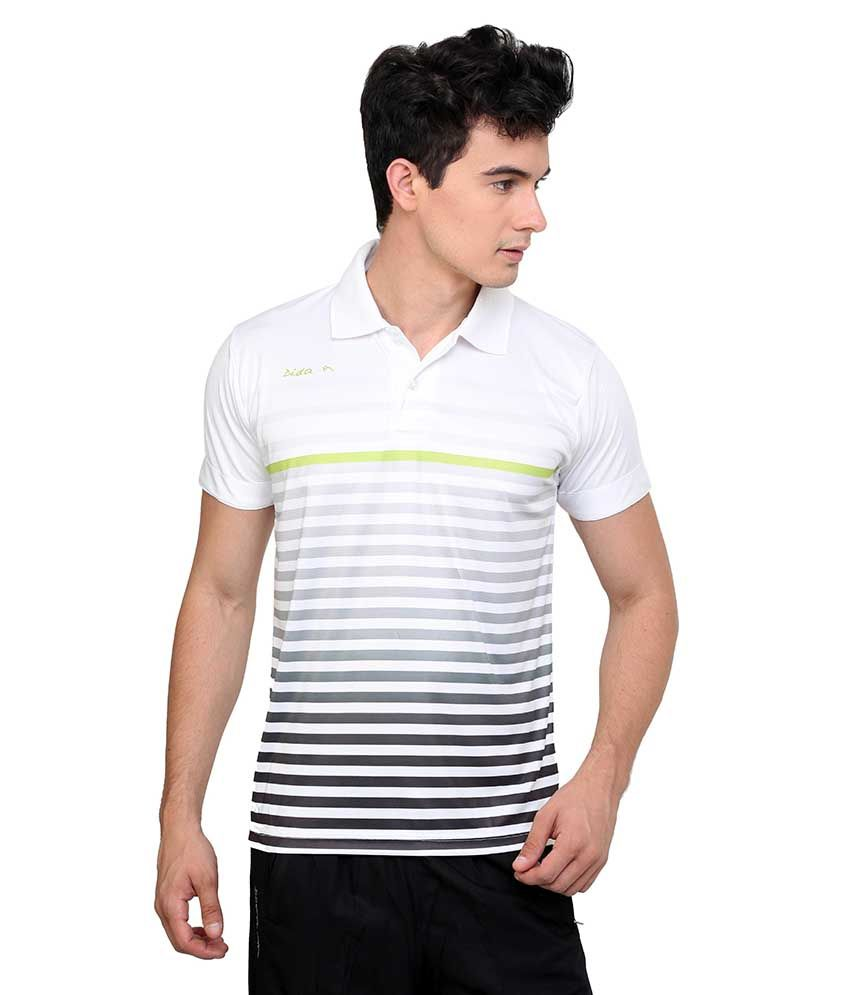 Dida  White Polyester Printed Half Polo T-Shirts