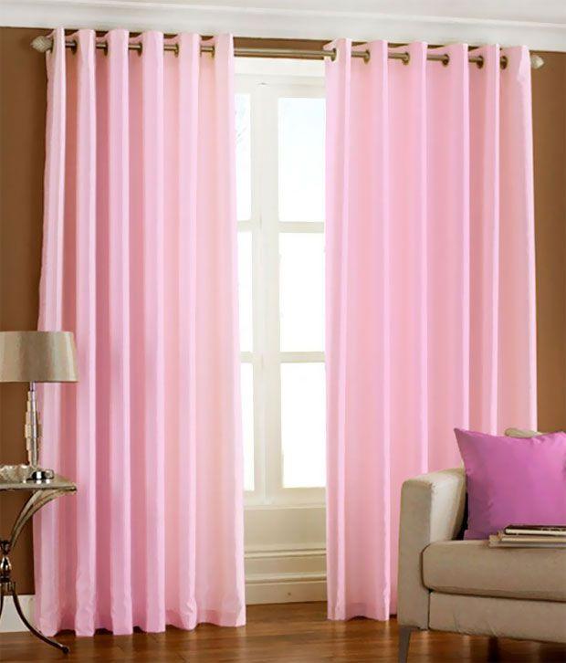 Handloom Hut Light Eyelet Door Curtain - Set Of 2 Solid Pink