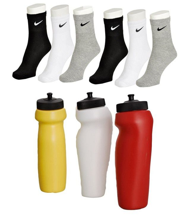 isteel Ideals Gym Combo of 3 Sippers and 6 Pairs of Nike Socks