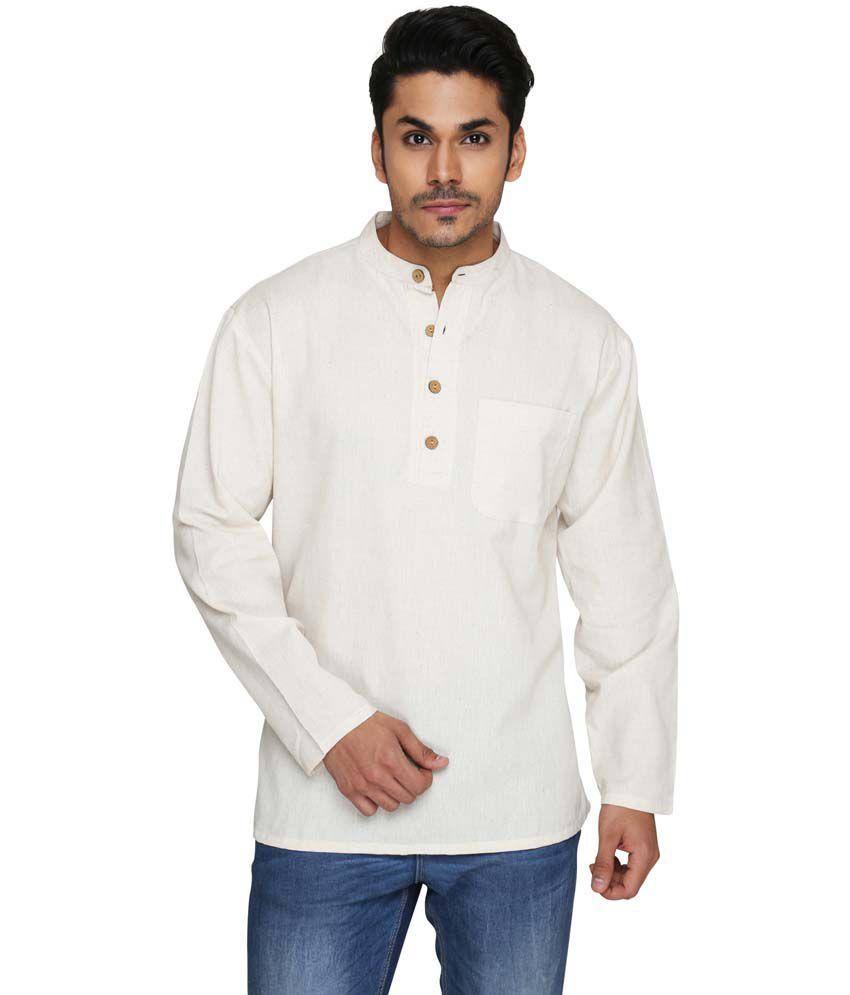 Ecostyle Beige Cotton Full Sleeves Daily Short Men Kurta