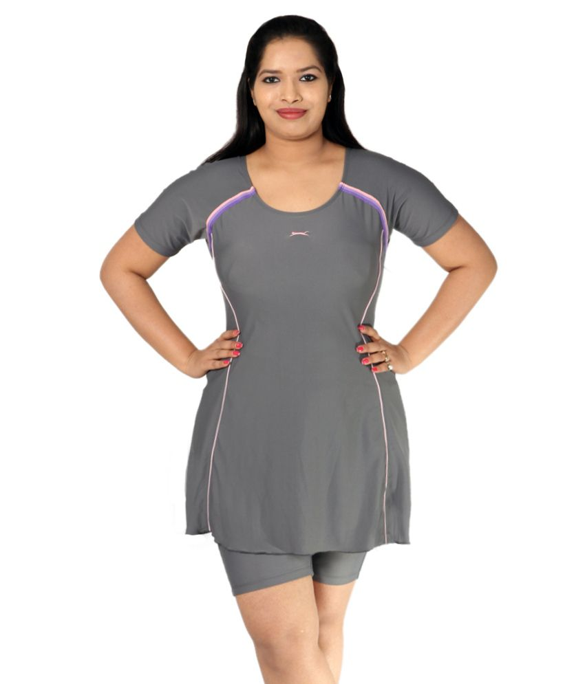 Indraprastha Gray Swimsuit With Extended Shorts/ Swimming Costume