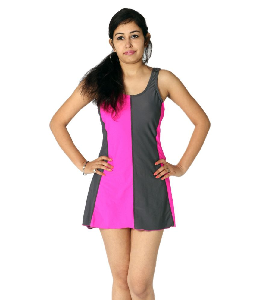 Indraprastha Gray and Neon Pink Swimsuit/ Swimming Costume