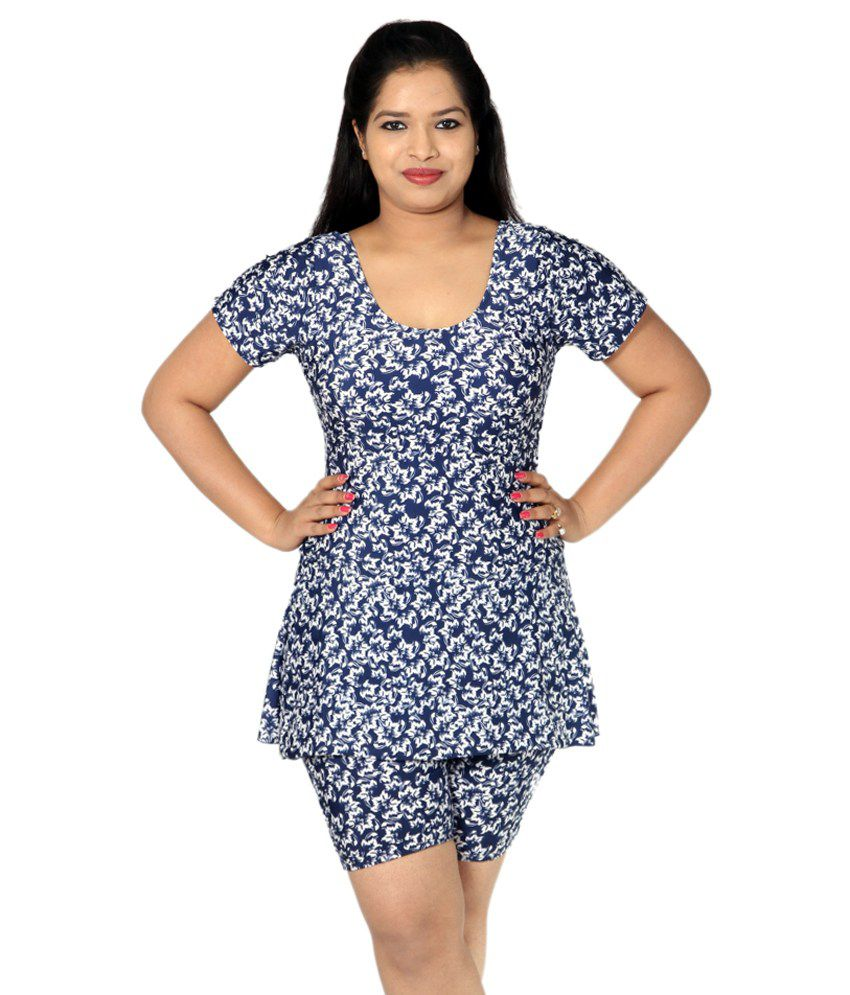 Indraprastha Navy Blue Printed Swimsuit with Long Shorts/ Swimming Costume