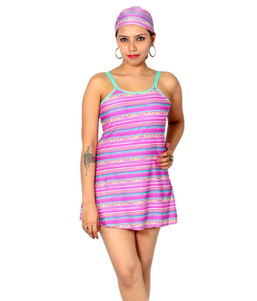 Indraprastha Pink Striped Swimsuit with Cap