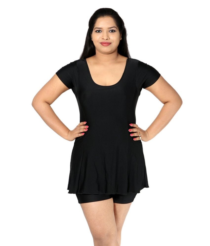 Indraprastha Plain Black Swimsuit With Quarter Sleeves/ Swimming Costume