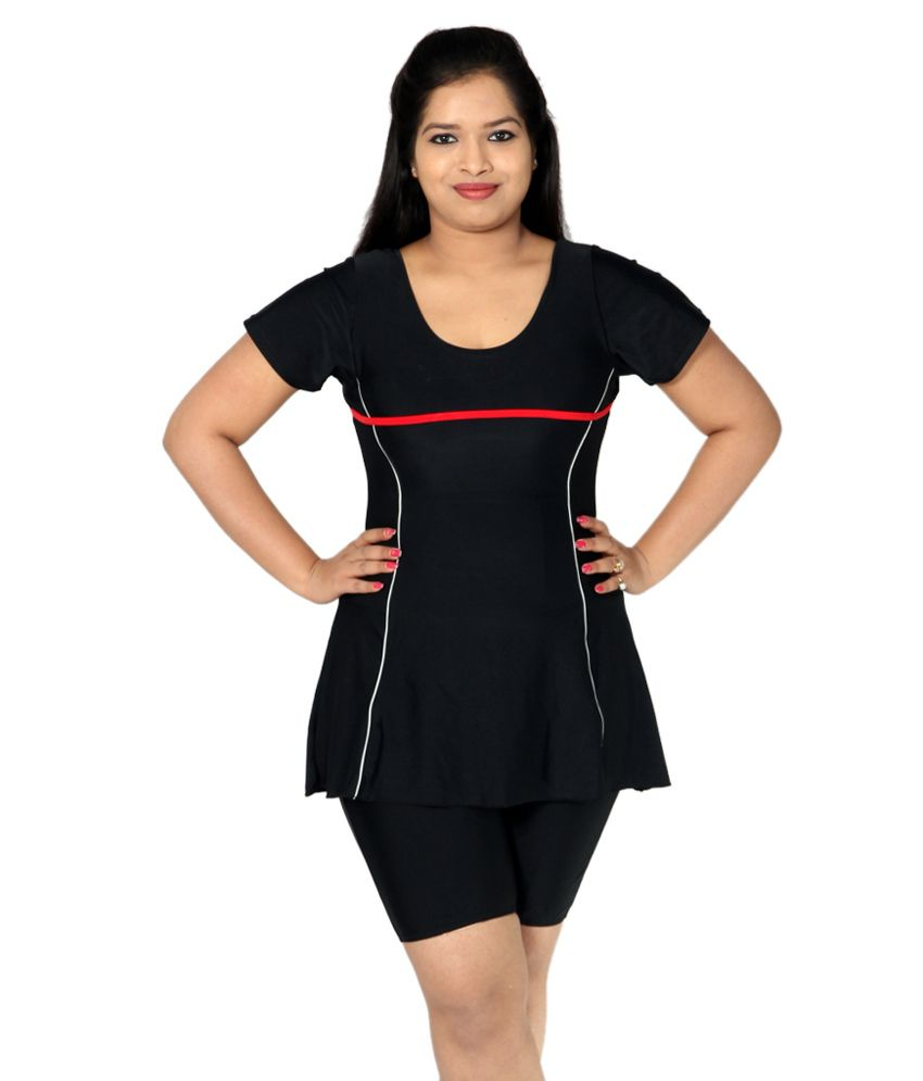 Indraprastha Plain Black Swimsuit With Extended Shorts/ Swimming Costume