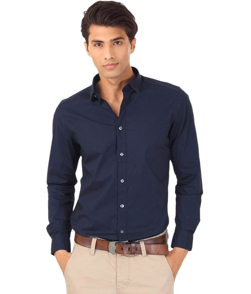 Fashion style Blue Navy shirt men pictures for lady