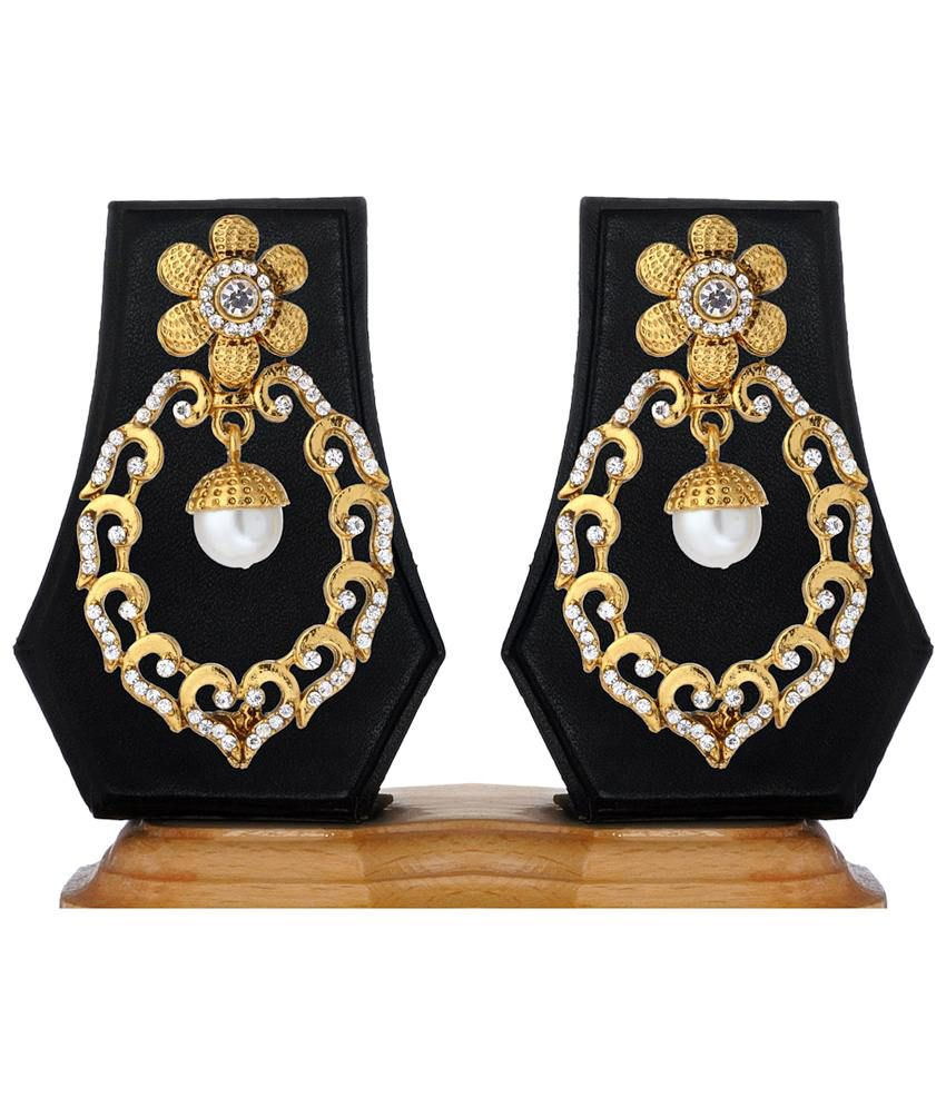 Ethnic Jewels Wonderful Golden Designer Hanging Earrings