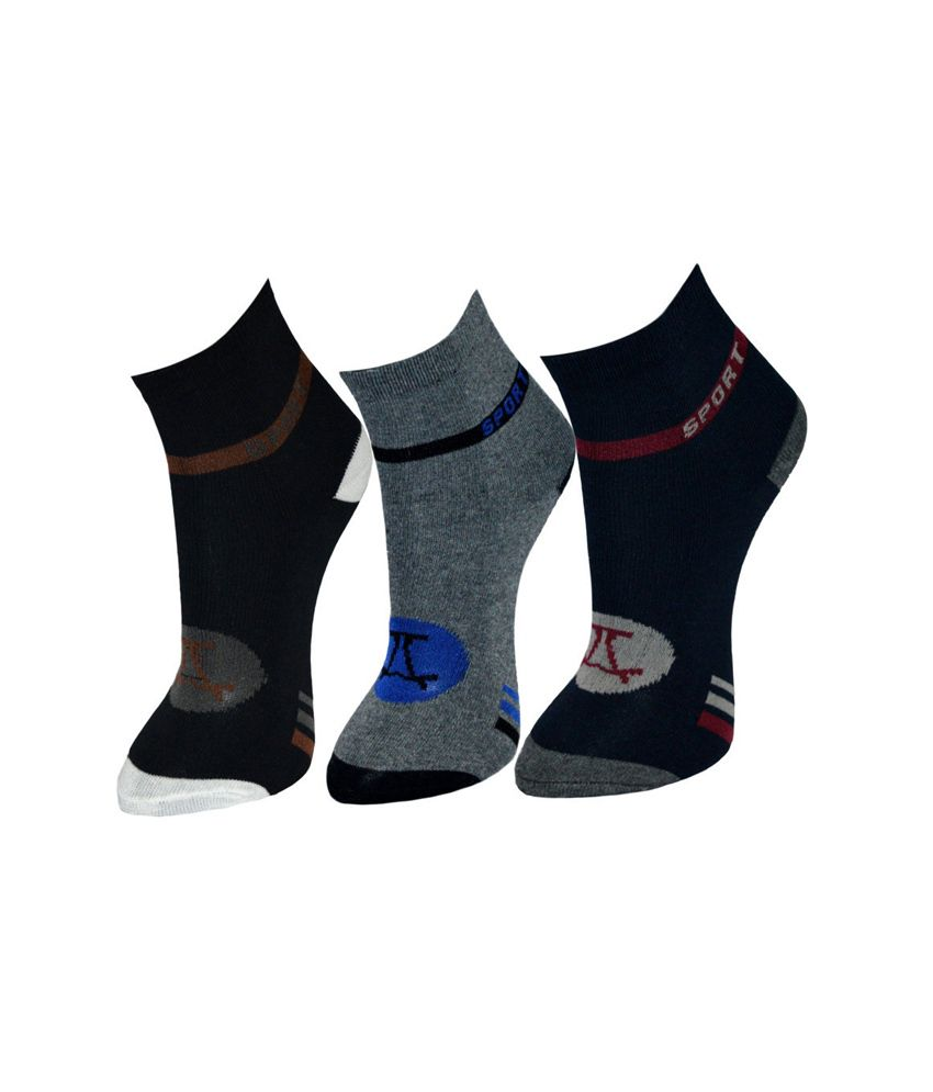 Gen Multicolor Cotton Casual Socks For Men - Set of 3