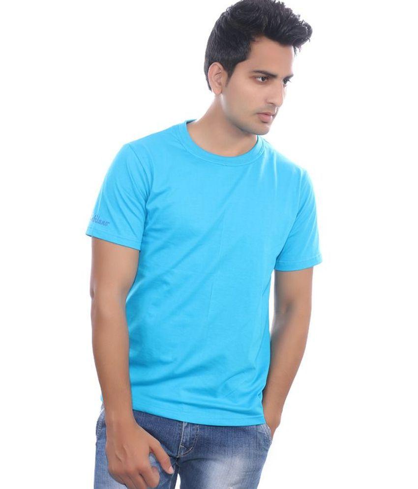 Fabilano Turquoise Cotton Basics Round Neck Half T Shirt