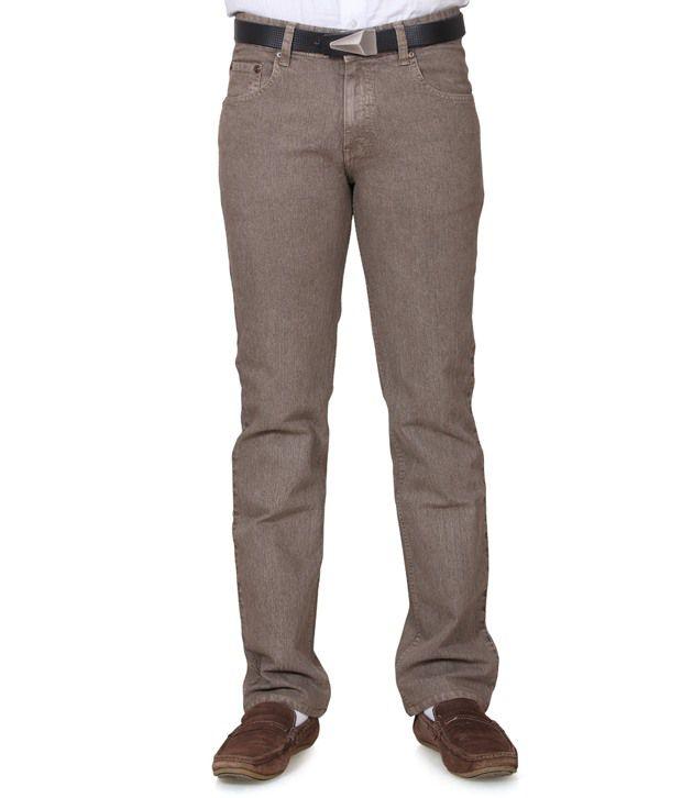 Klix Jeans Beige Cotton Straight Fit Jeans
