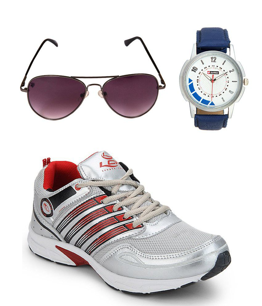 Lancer Spain Silverred Sports Shoes With Spartiate Sunglass & Watch Combo