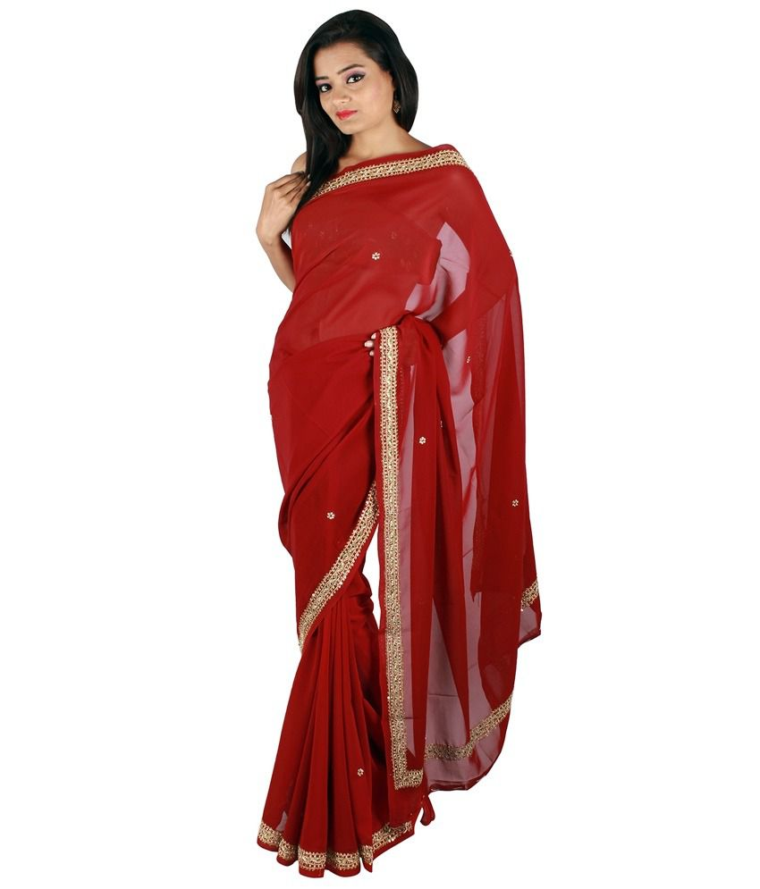 LehngaSarees Red Faux Georgette Saree