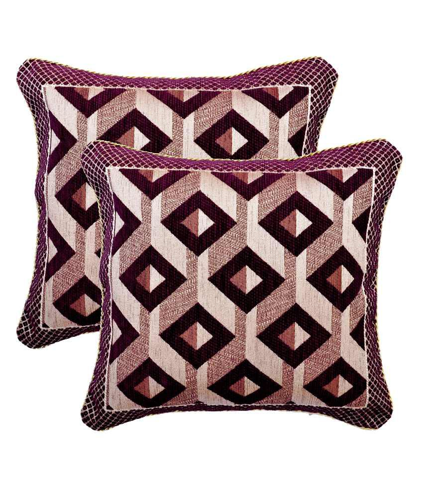 Sambhav Jacquard Woven Cushion Cover Purple