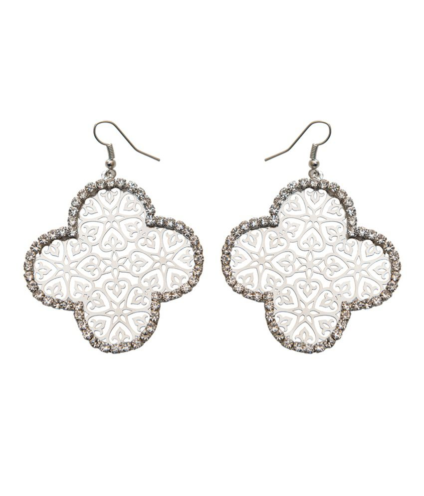 Taj Pearl Designer White Metal Earrings