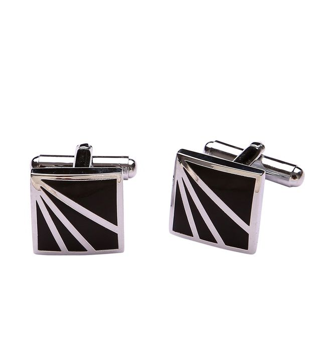 Tripin Black And Silver Enamel Formal Cufflinks With Freebie Beautiful Pen & A Classic Keychain In Attractive Gifting Box