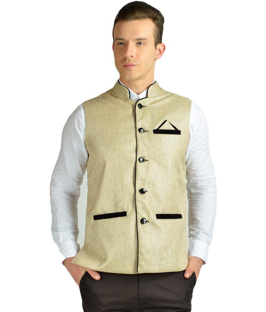 Ahhaaaa White Cotton Blend Semi-Formal Modi Jacket