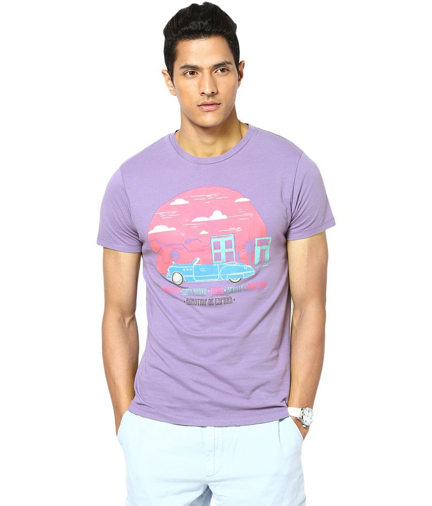 Gabambo Purple Cotton Znmd Car Road Trip Printed T-Shirt