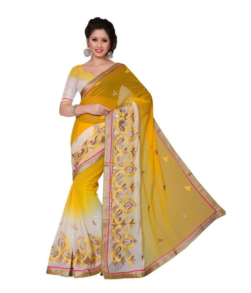 Prachi Silk Mills Yellow Faux Georgette Saree
