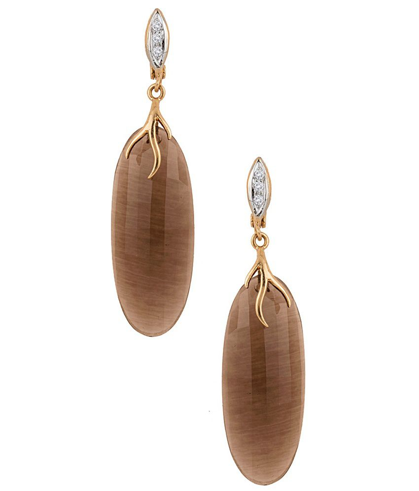 Voylla Awesome Oval Smoky Quartz Adorned Golden Hanging Earrings