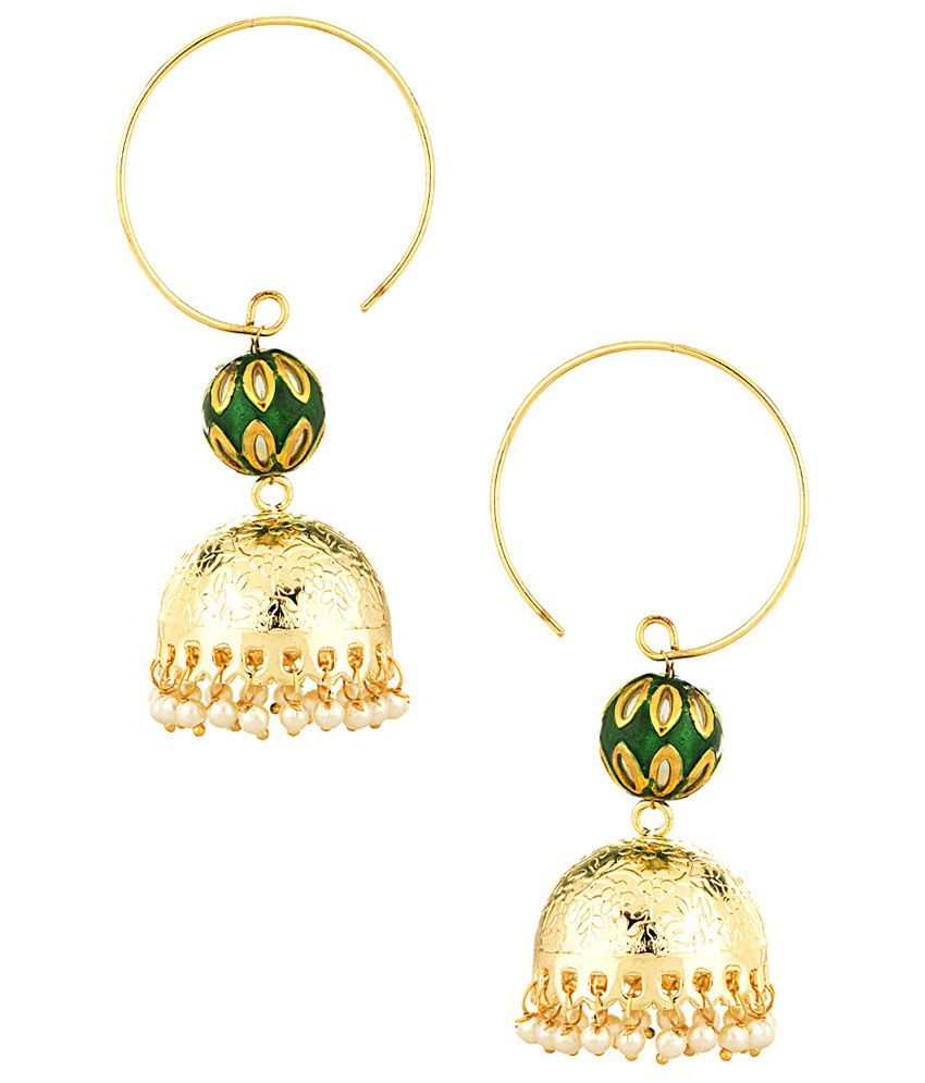 Voylla Striking Golden Green Jhumkis