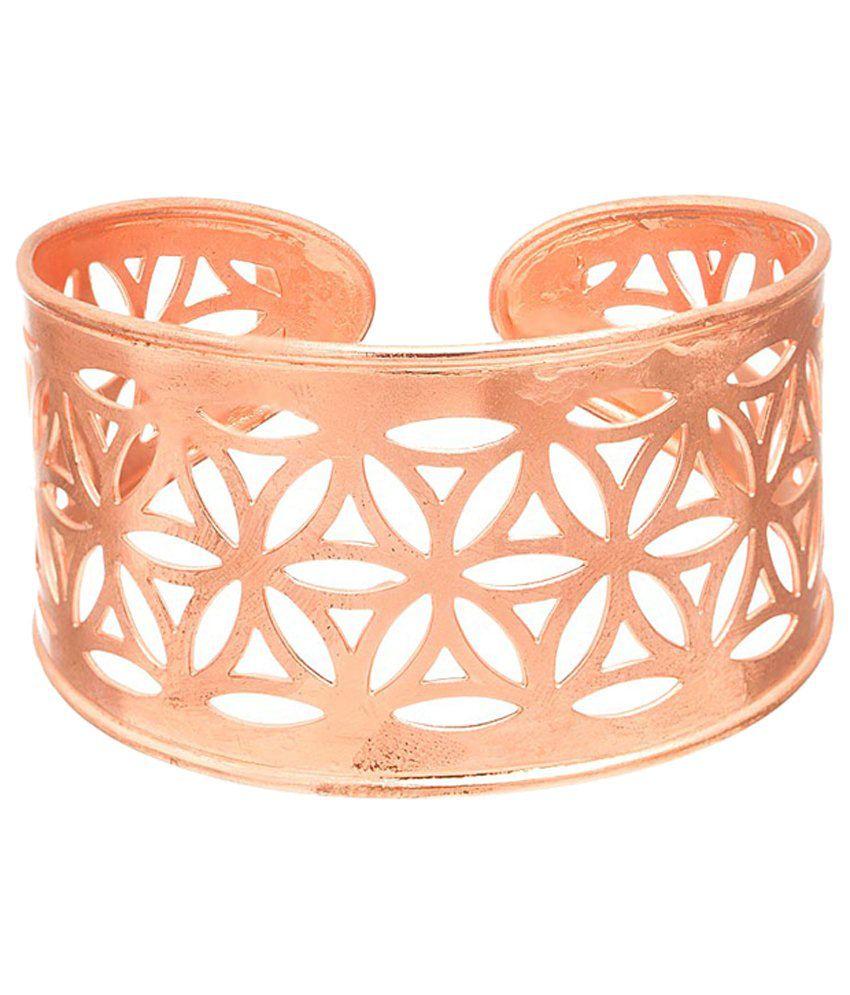 Voylla Stunning Rose Gold Plated Jali Work Cuff
