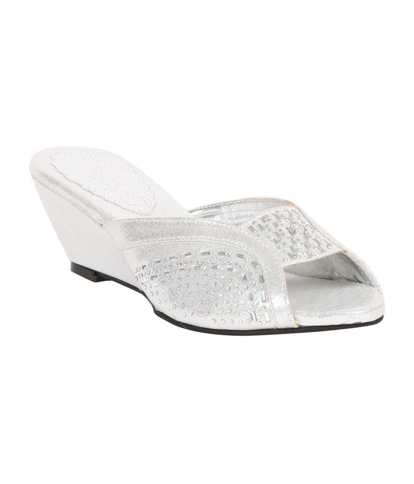 Adorn Silver Wedges Sandals