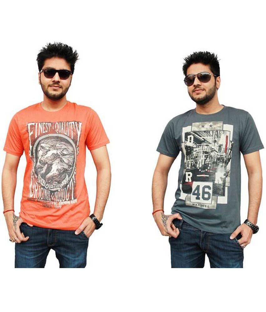 Falc Printed Cotton T Shirt - Combo Of 2