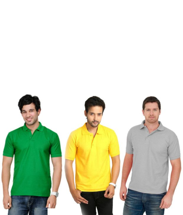 KeepSake Yellow, Gray And Green Polo T-shirt Combo (Set Of 3)