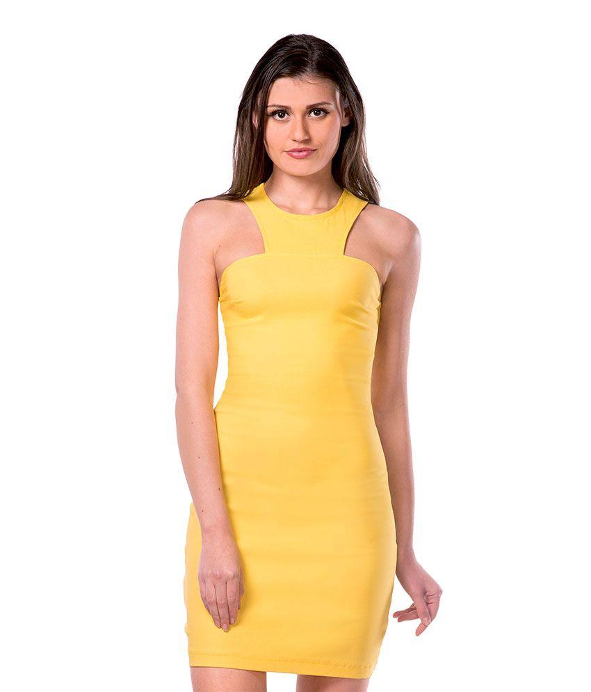 Miss Chase Cotton Yellow Bodycon Dress