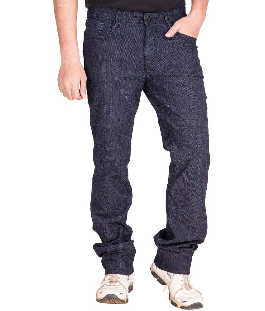 Vine's Blue Cotton Regular Fit Lycra Jeans