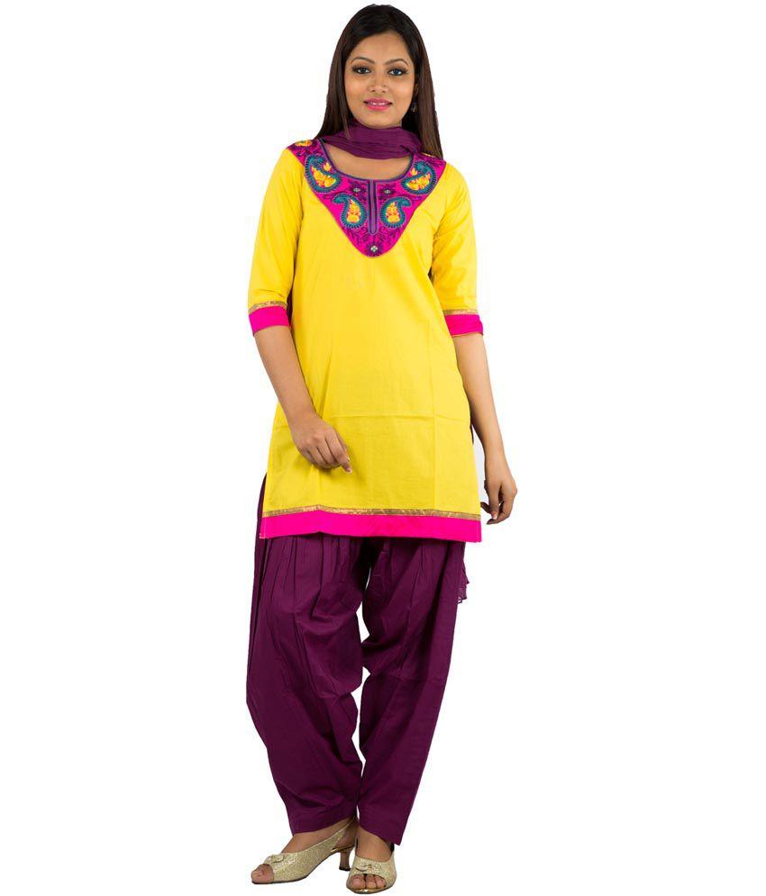 Jaipur Kurti Pure Cotton Yellow Salwar Suit and Wine Patiala Duptta
