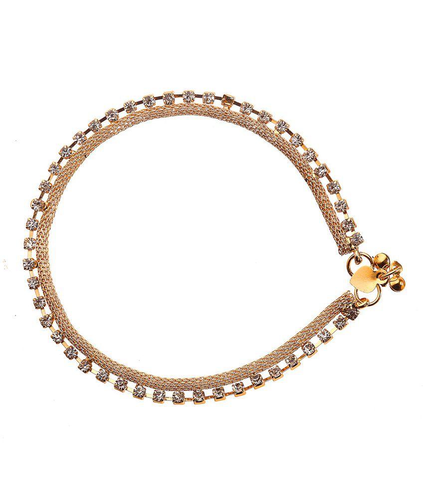 Mrigya Gold Dimond Design Alloy Anklet
