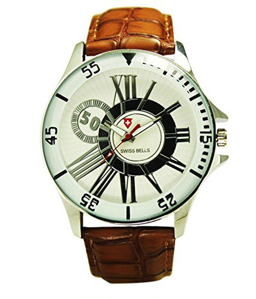 Svviss Bells Svviss Bells White Leather Round Analog Watch For Man