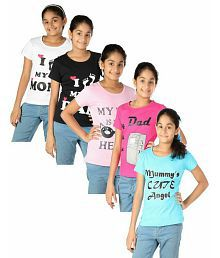 Goodway Pack of 5 Senior Girls Mom & Dad Printed T-Shirts