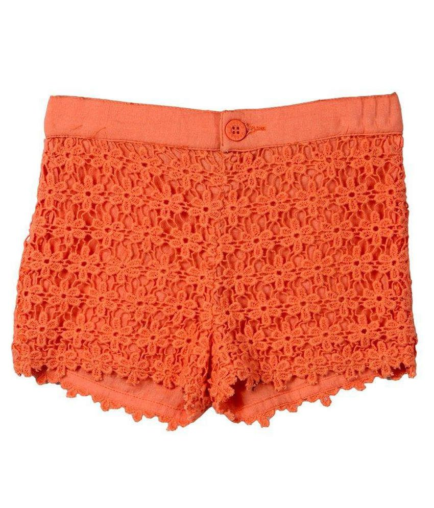Beebay Orange Solids Cotton Shorts