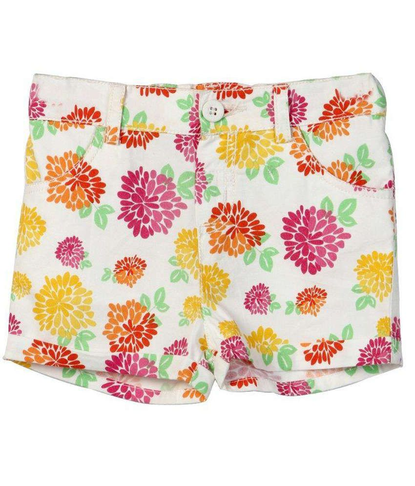 Beebay Printed White Cotton Shorts