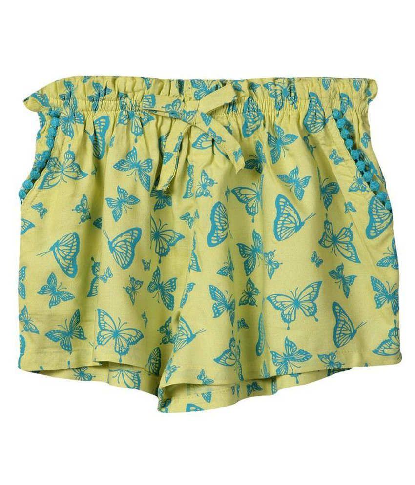 Beebay Yellow Cotton Solids Shorts