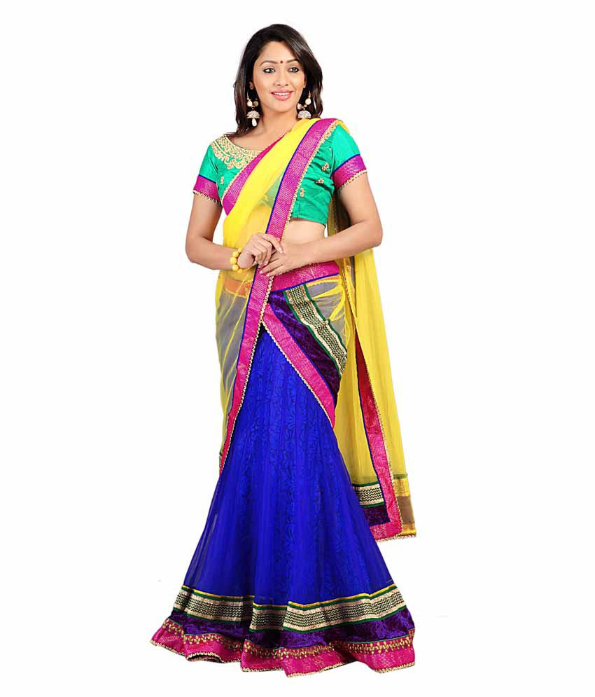 Florence Pink and Blue Net With Braso Cotton Lehenga