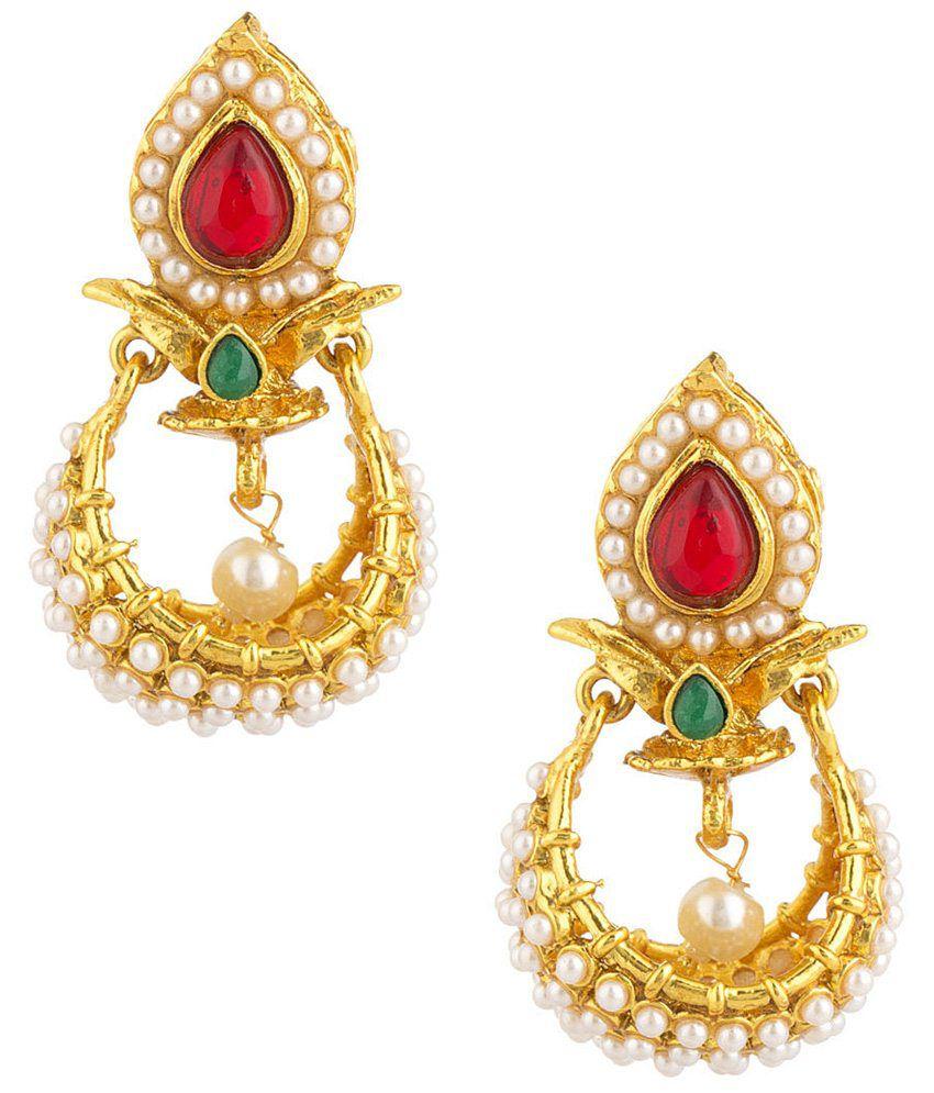 Voylla Impressive Gold Plated Festive Hanging Earrings