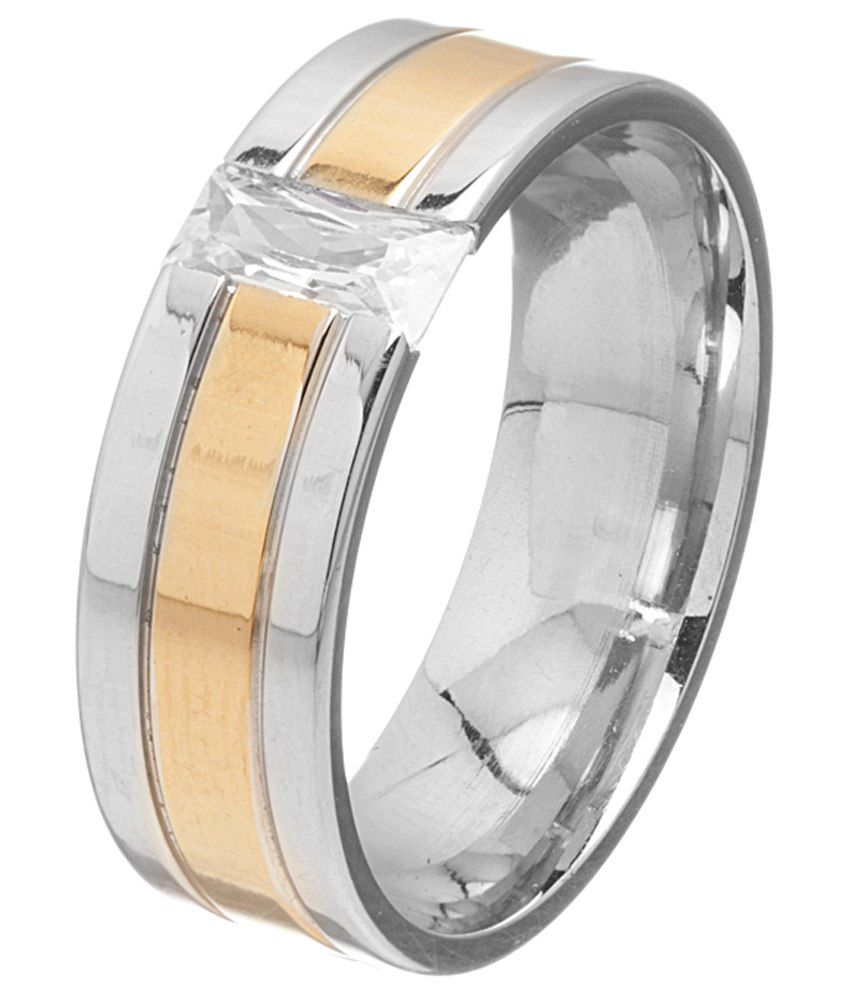 Voylla Stylish Silver & Golden Band Ring For Men
